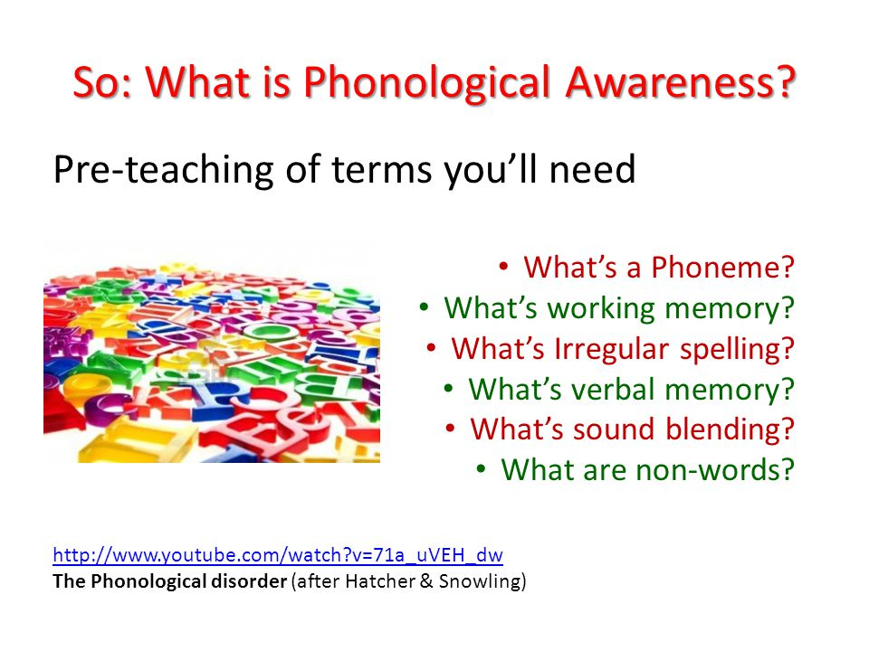 So: What is Phonological Awareness