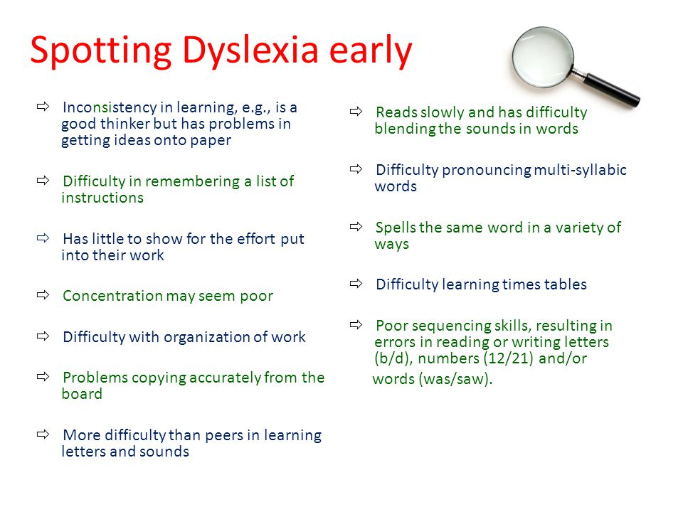 Spotting Dyslexia early