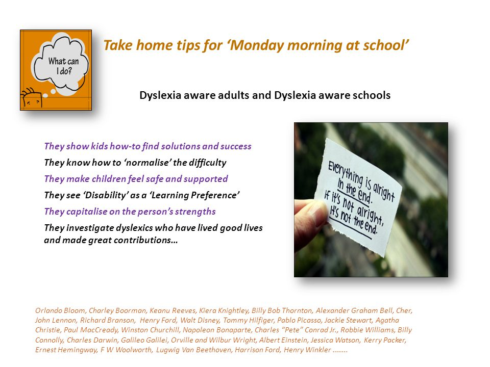 Take home tips for 'Monday morning at school'
