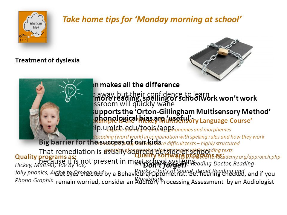 Treatment of dyslexia Take home tips for 'Monday morning at school'