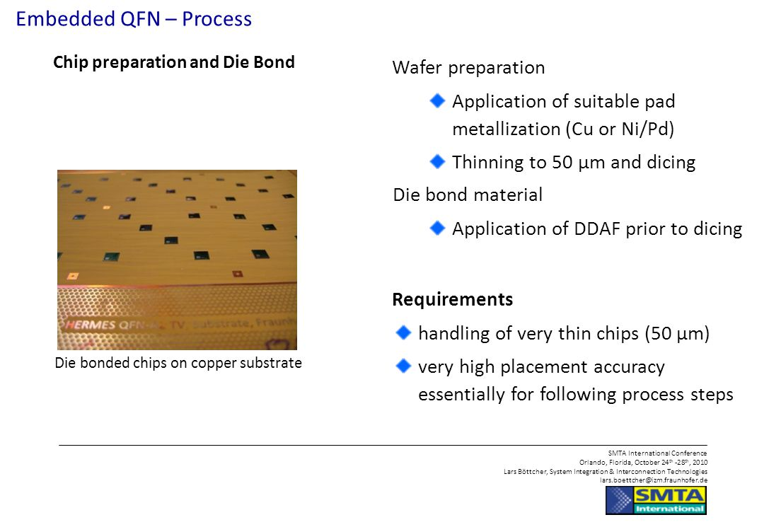Embedded QFN – Process Wafer preparation