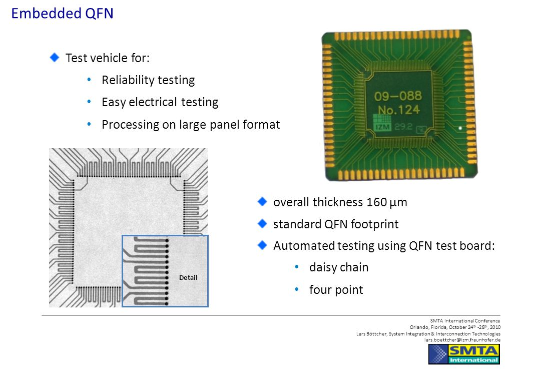 Embedded QFN Test vehicle for: Reliability testing