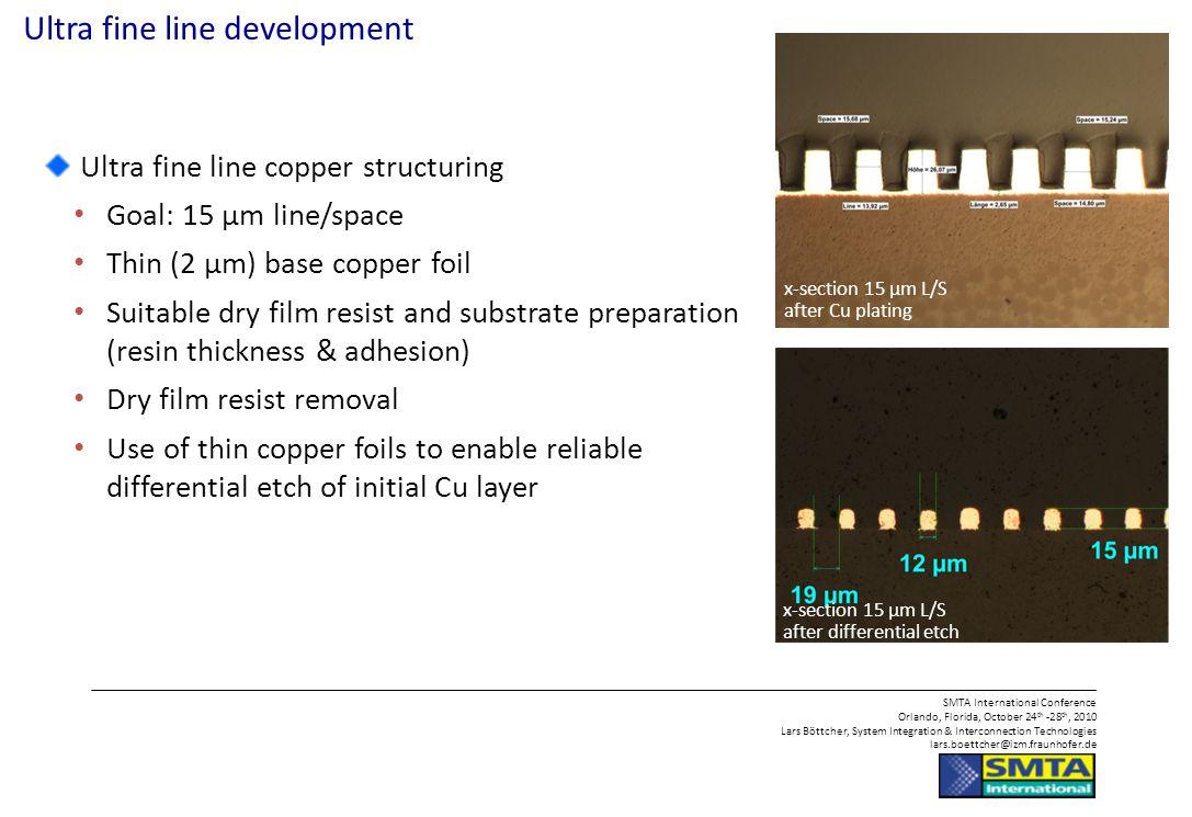 Ultra fine line development