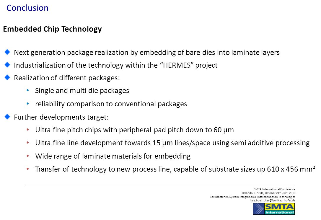 Conclusion Embedded Chip Technology