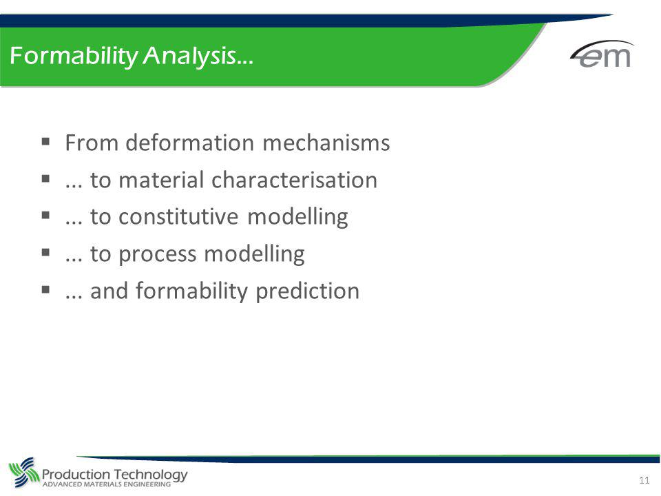 Formability Analysis... From deformation mechanisms. ... to material characterisation. ... to constitutive modelling.
