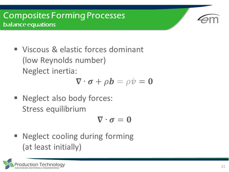 Composites Forming Processes balance equations