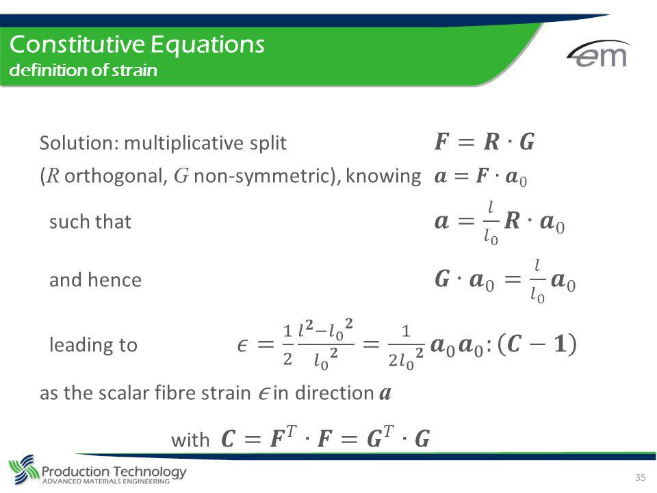 Constitutive Equations definition of strain
