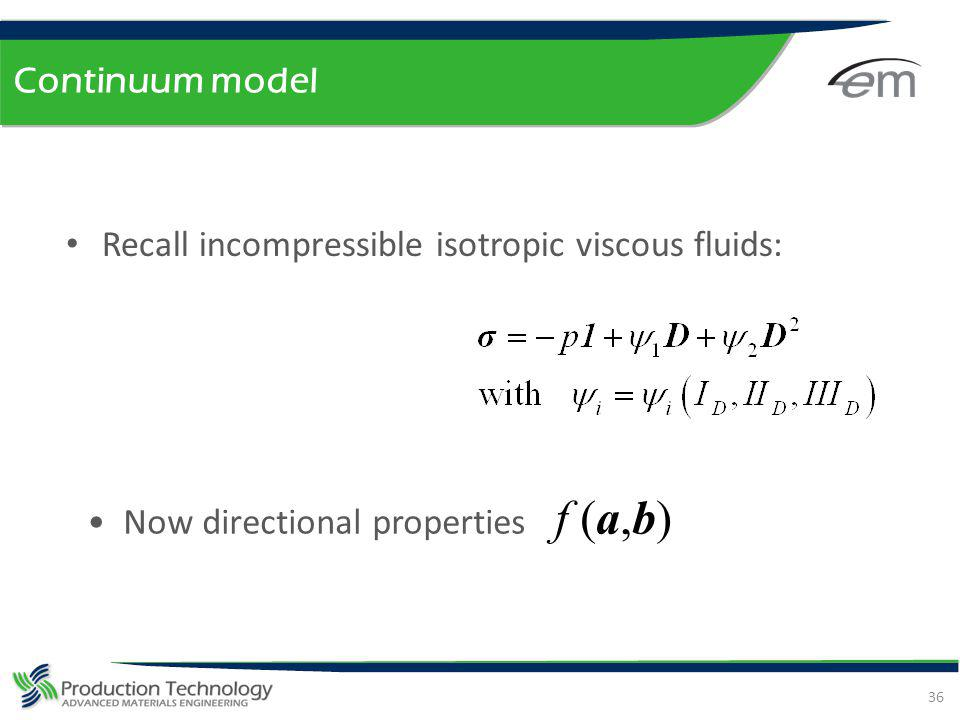 Continuum model Recall incompressible isotropic viscous fluids: Now directional properties f (a,b)