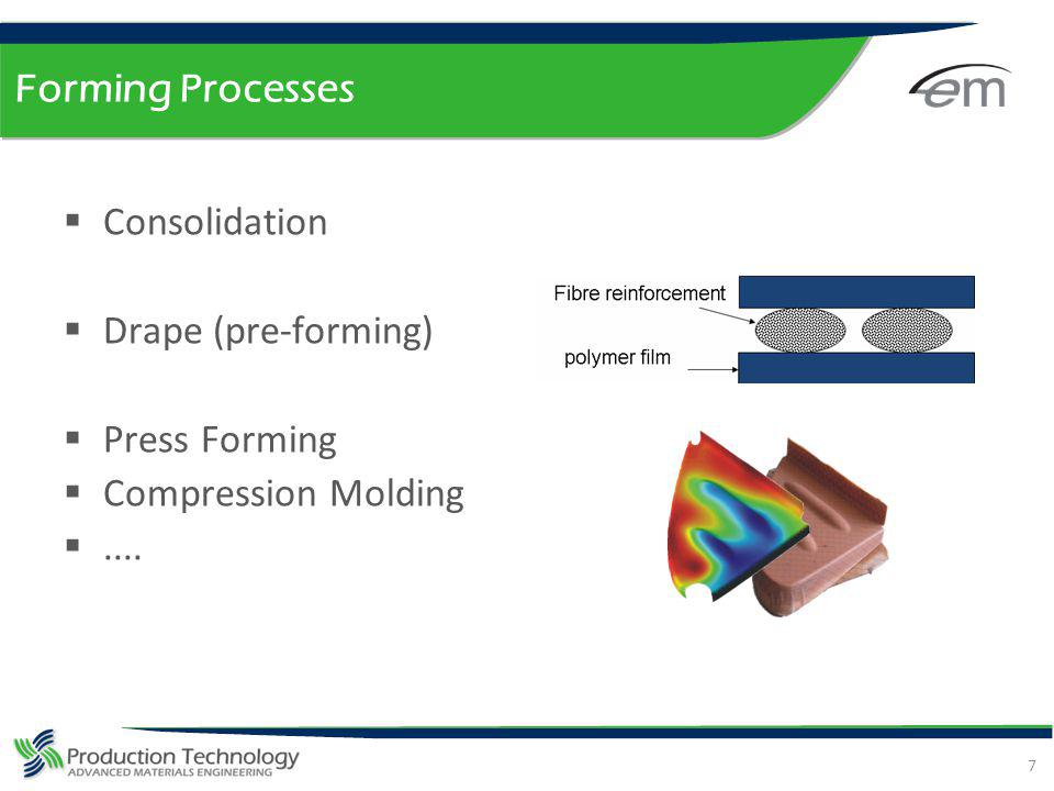 Forming Processes Consolidation Drape (pre-forming) Press Forming Compression Molding ....