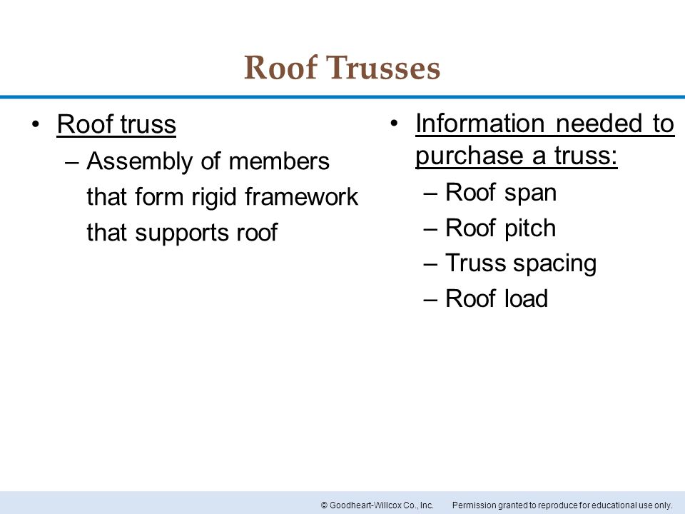 Roof Trusses Roof truss Information needed to purchase a truss:
