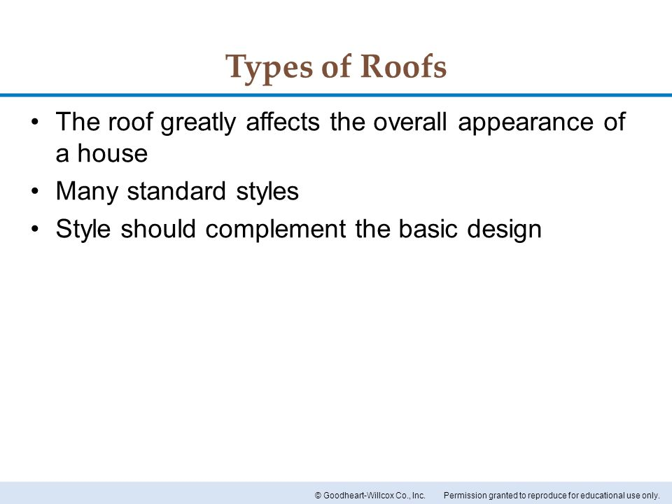 Types of Roofs The roof greatly affects the overall appearance of a house.