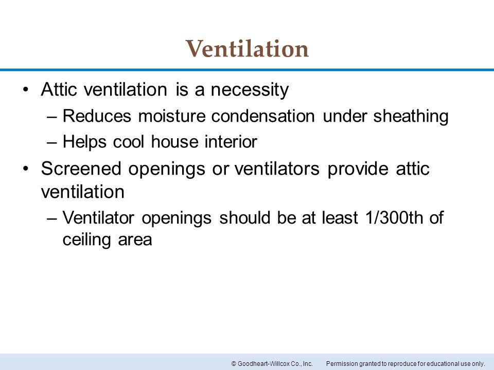 Ventilation Attic ventilation is a necessity