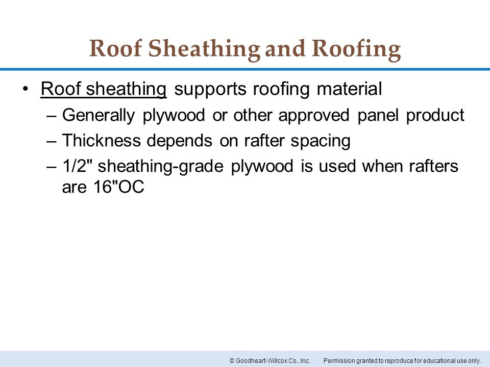 Roof Sheathing and Roofing