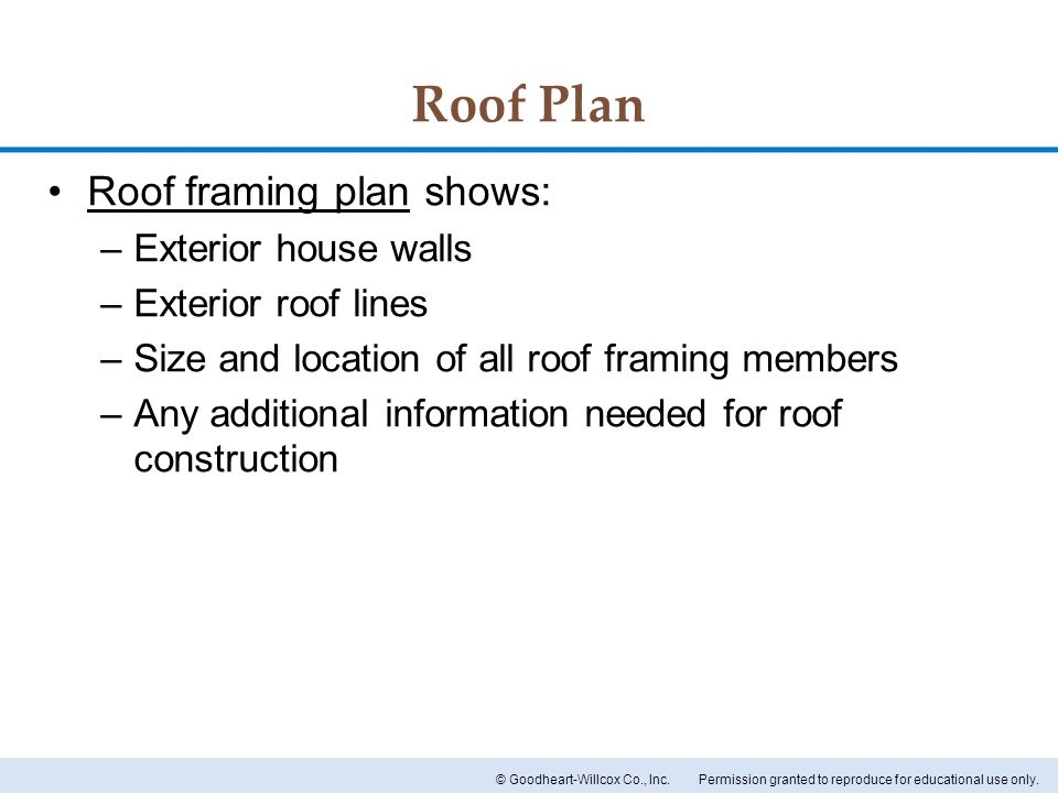 Roof Plan Roof framing plan shows: Exterior house walls