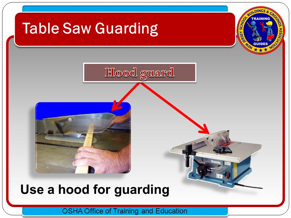 Table Saw Guarding Hood guard Use a hood for guarding
