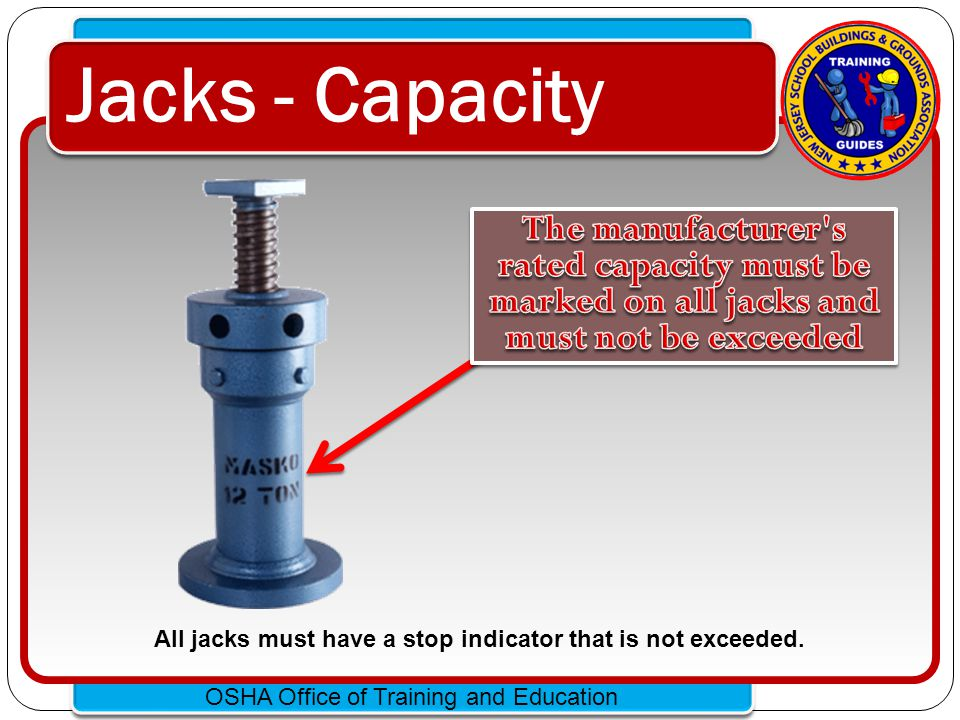 All jacks must have a stop indicator that is not exceeded.