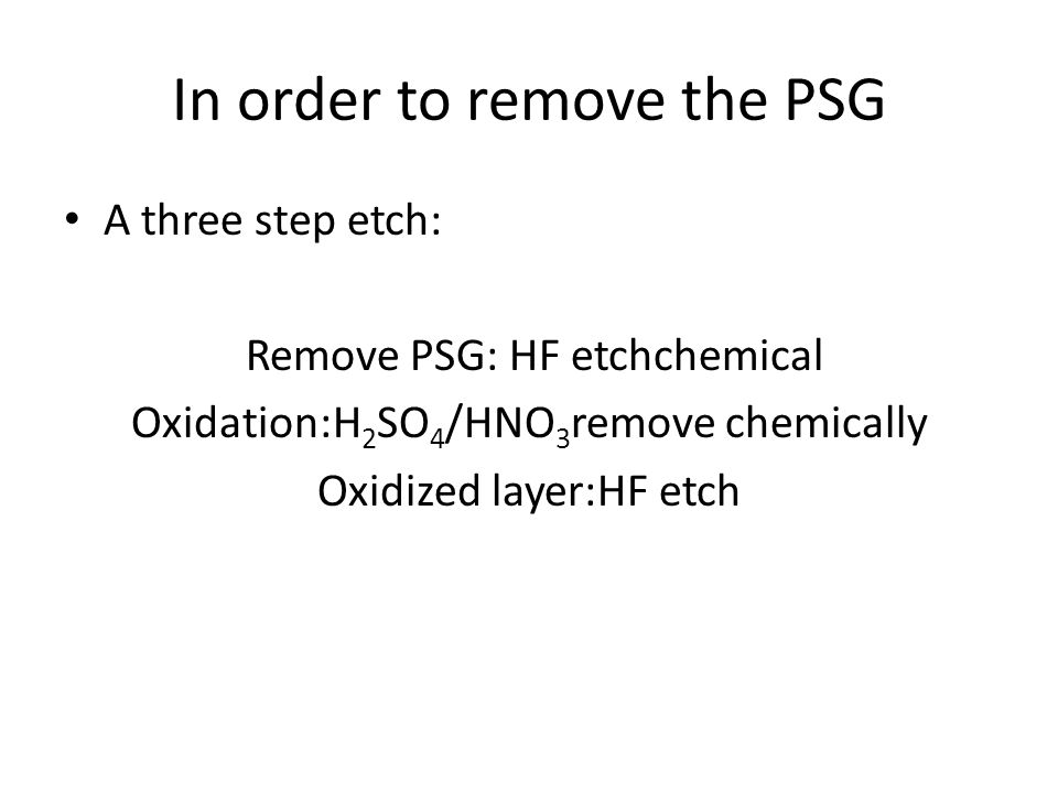 In order to remove the PSG