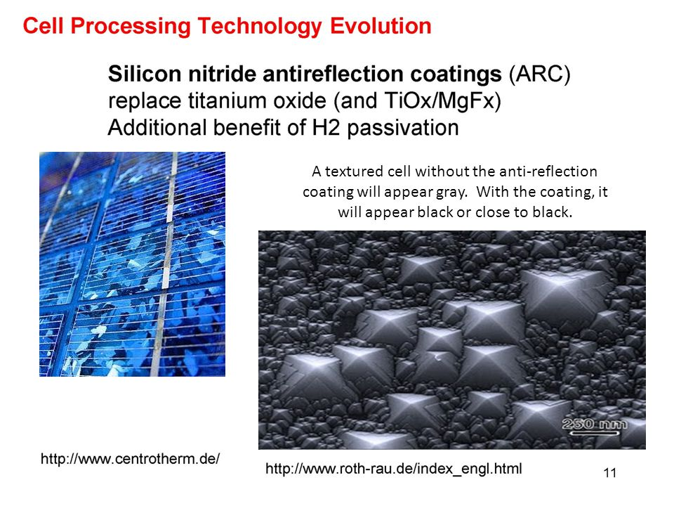 A textured cell without the anti-reflection coating will appear gray
