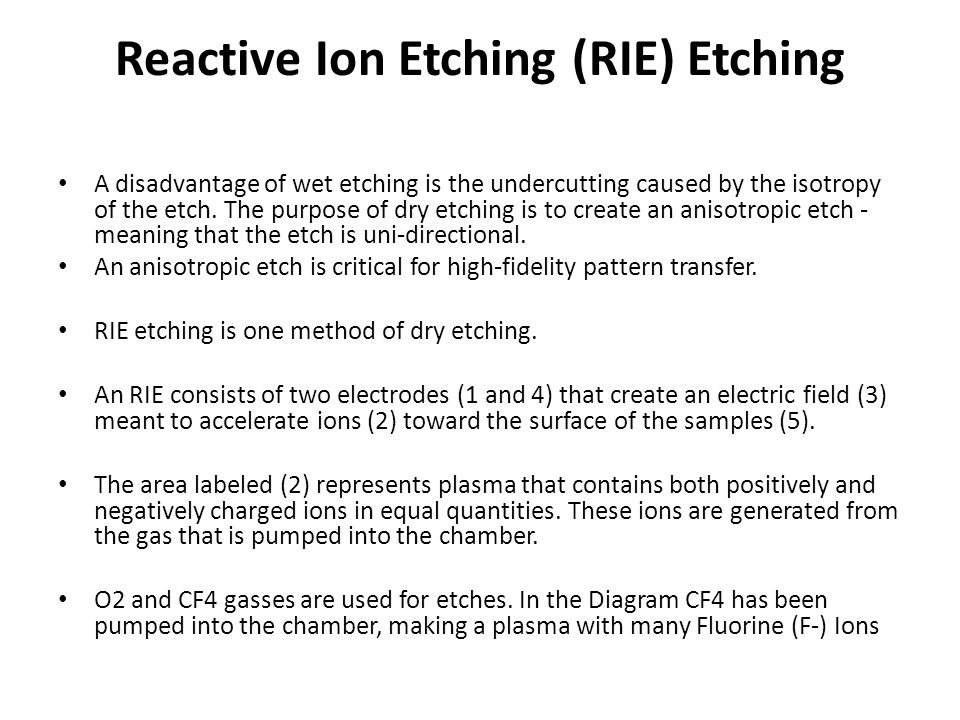 Reactive Ion Etching (RIE) Etching