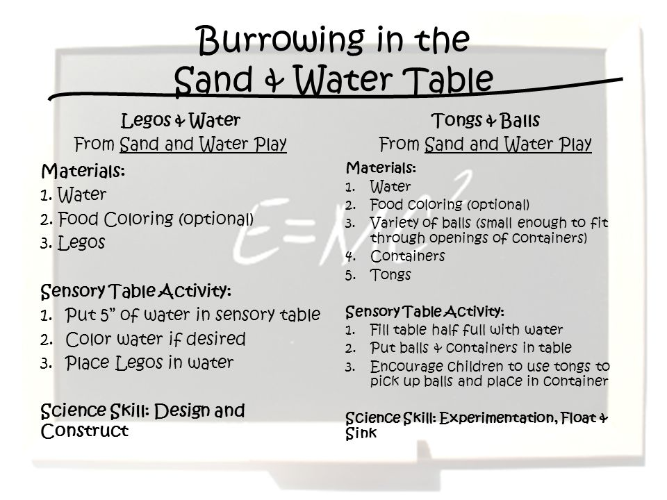 Burrowing in the Sand & Water Table
