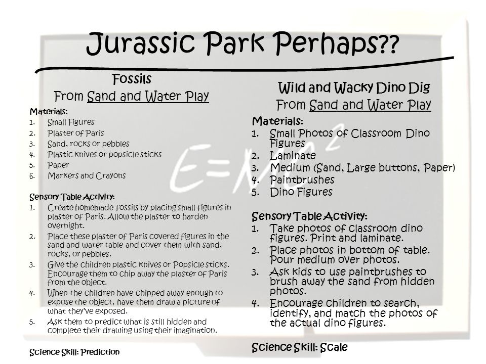 Jurassic Park Perhaps Fossils From Sand and Water Play