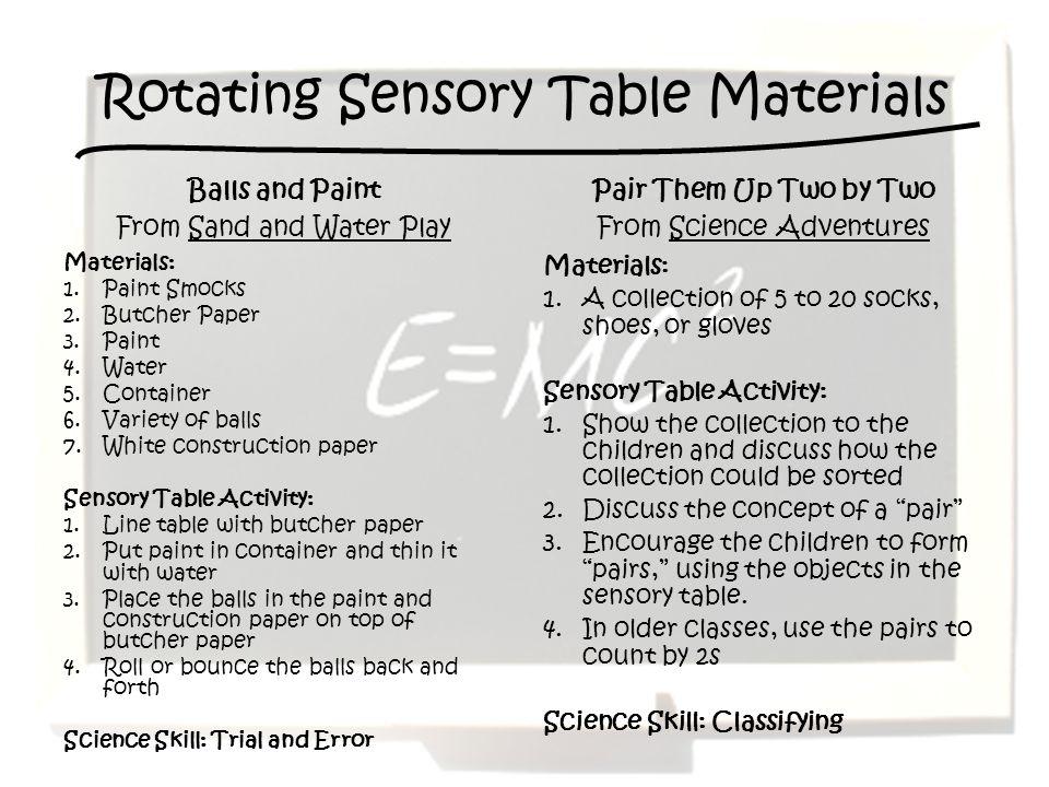 Rotating Sensory Table Materials