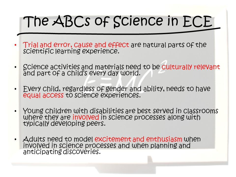 The ABCs of Science in ECE
