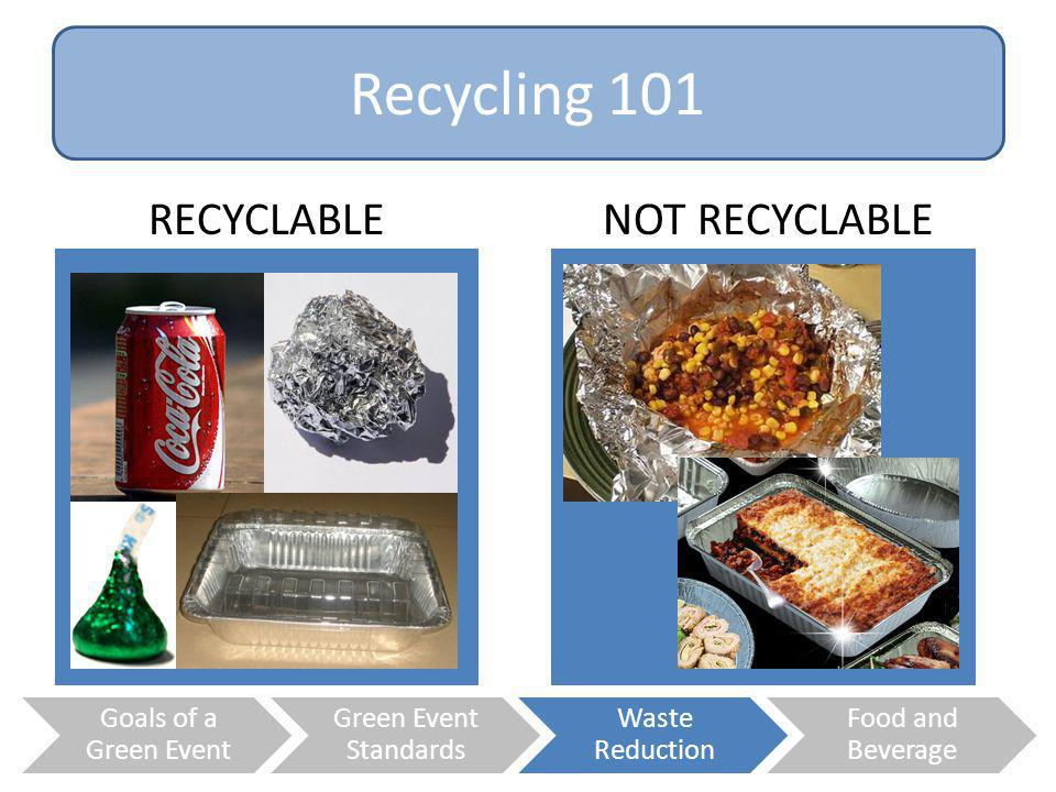 Recycling 101 RECYCLABLE NOT RECYCLABLE Goals of a Green Event
