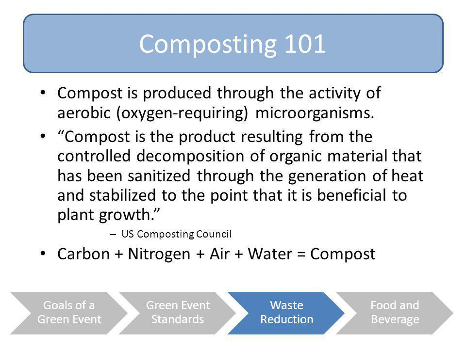 Composting 101 Compost is produced through the activity of aerobic (oxygen-requiring) microorganisms.
