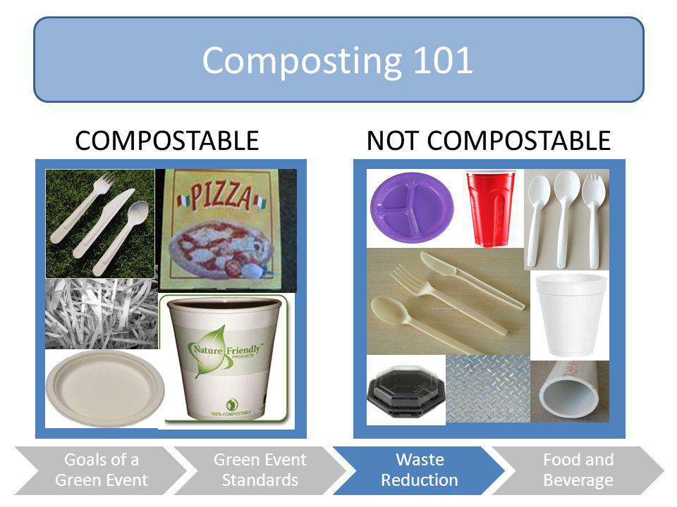 Composting 101 COMPOSTABLE NOT COMPOSTABLE Goals of a Green Event