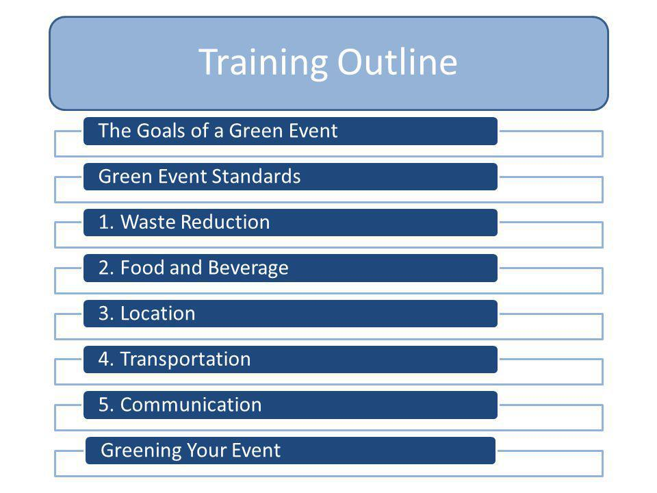 Training Outline The Goals of a Green Event Green Event Standards
