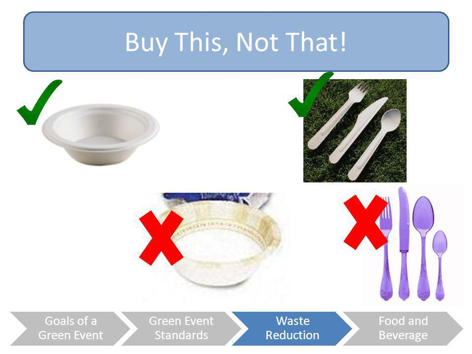 Buy This, Not That! Goals of a Green Event Green Event Standards