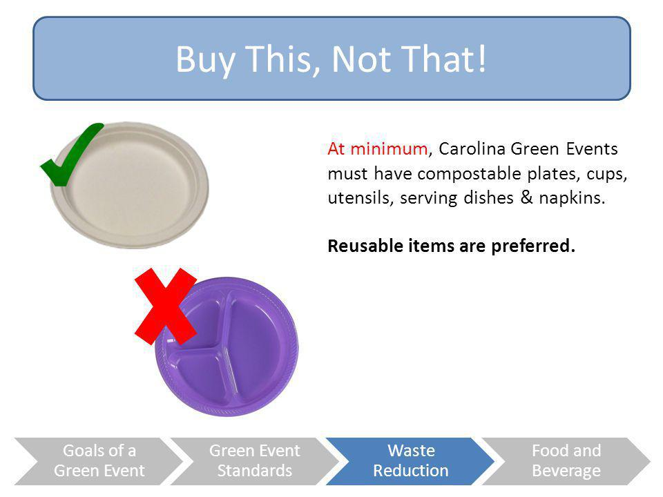 Buy This, Not That! At minimum, Carolina Green Events must have compostable plates, cups, utensils, serving dishes & napkins.