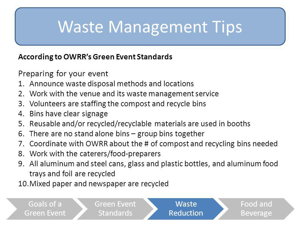 Waste Management Tips Preparing for your event