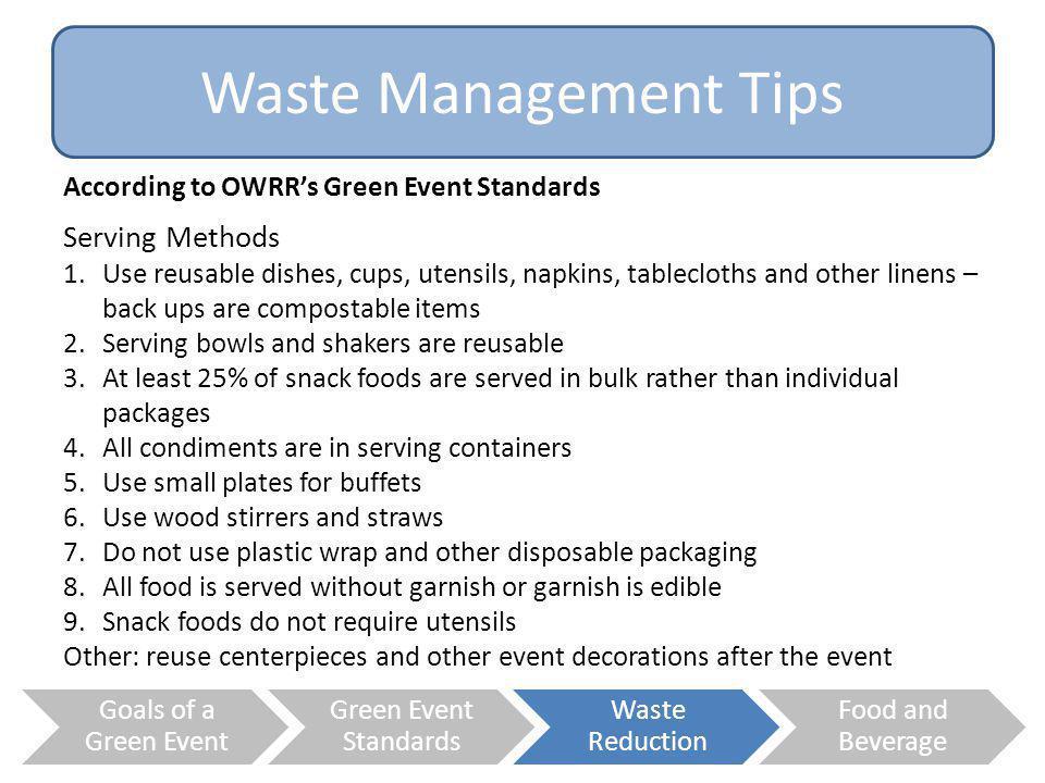 Waste Management Tips Serving Methods