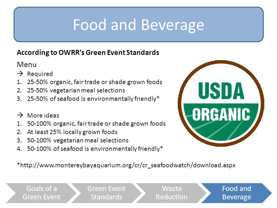 Food and Beverage Menu According to OWRR's Green Event Standards