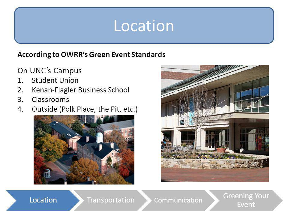 Location On UNC's Campus According to OWRR's Green Event Standards