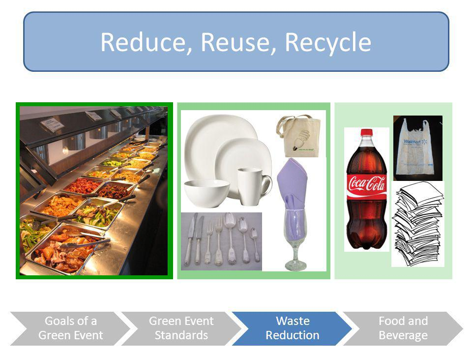 Reduce, Reuse, Recycle Goals of a Green Event Green Event Standards
