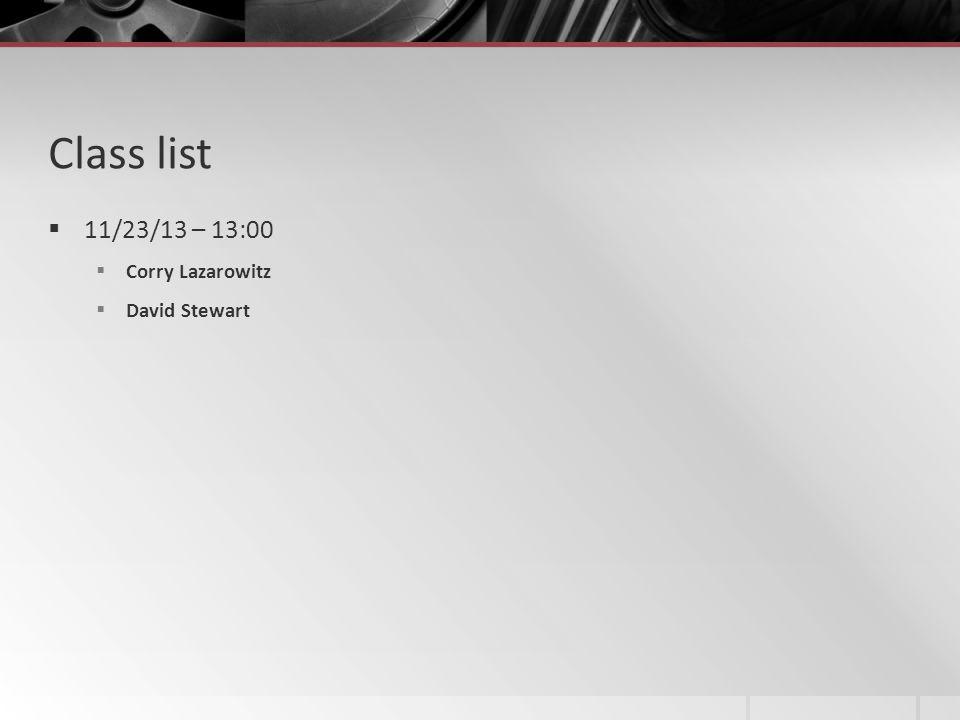 Class list 11/23/13 – 13:00 Corry Lazarowitz David Stewart