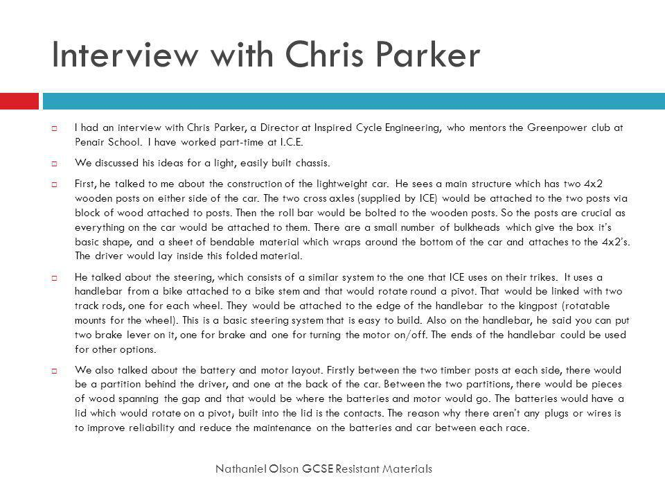 Interview with Chris Parker