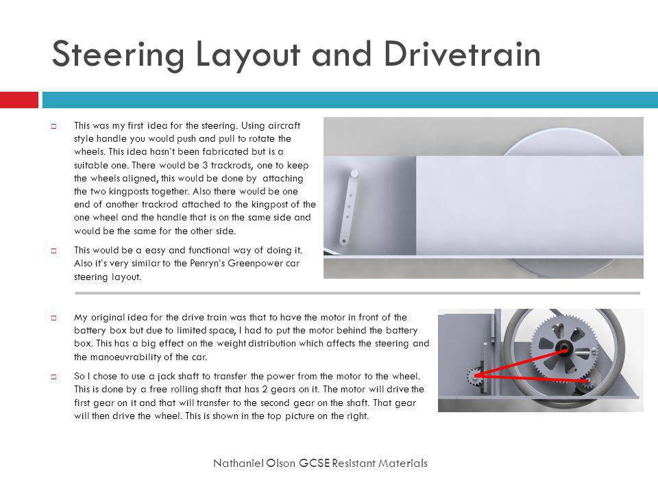 Steering Layout and Drivetrain