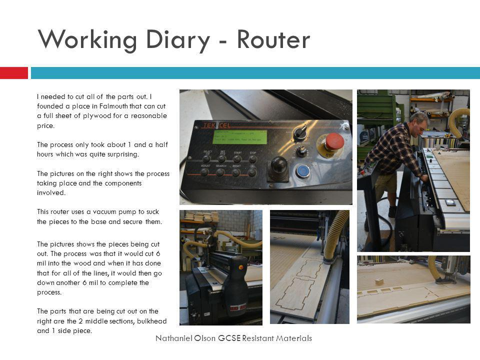 Working Diary - Router Nathaniel Olson GCSE Resistant Materials