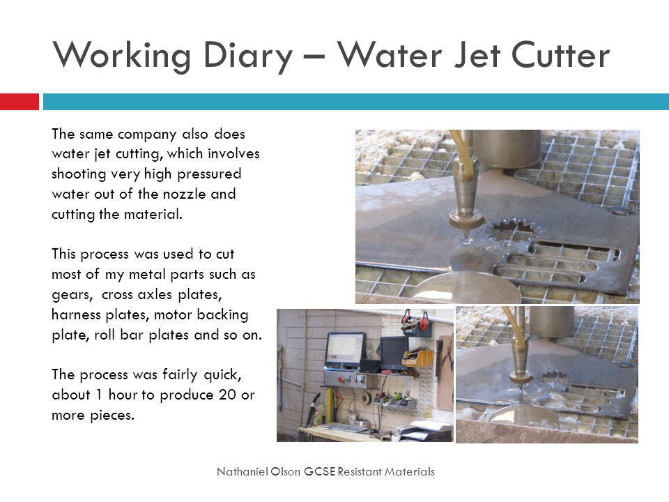 Working Diary – Water Jet Cutter