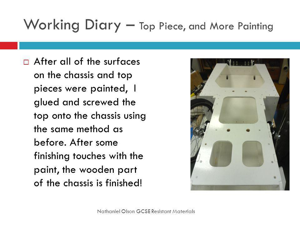 Working Diary – Top Piece, and More Painting