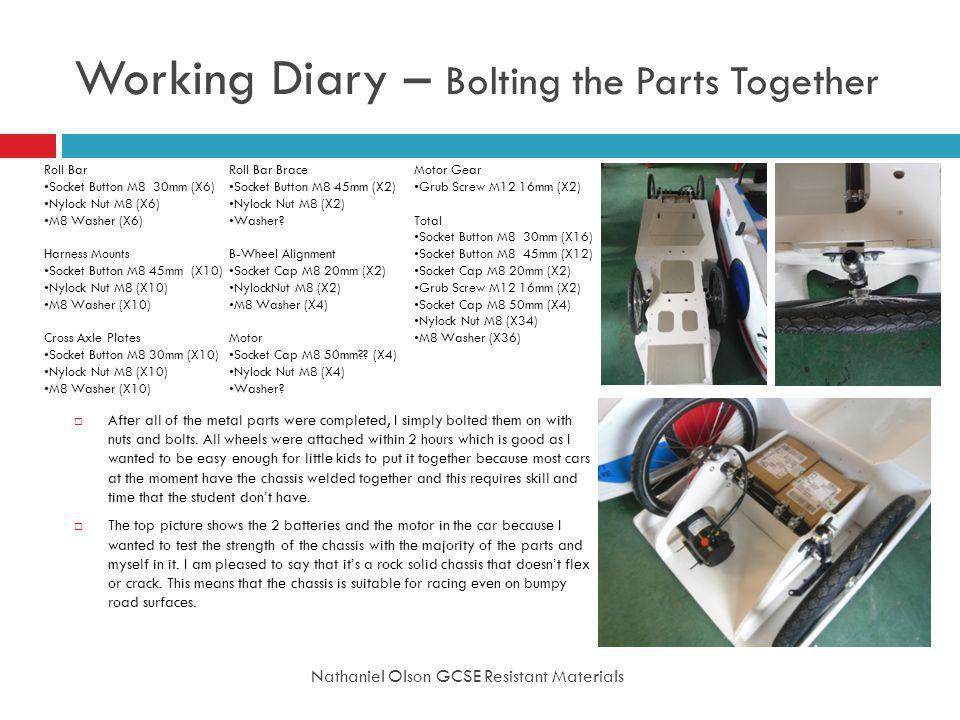 Working Diary – Bolting the Parts Together