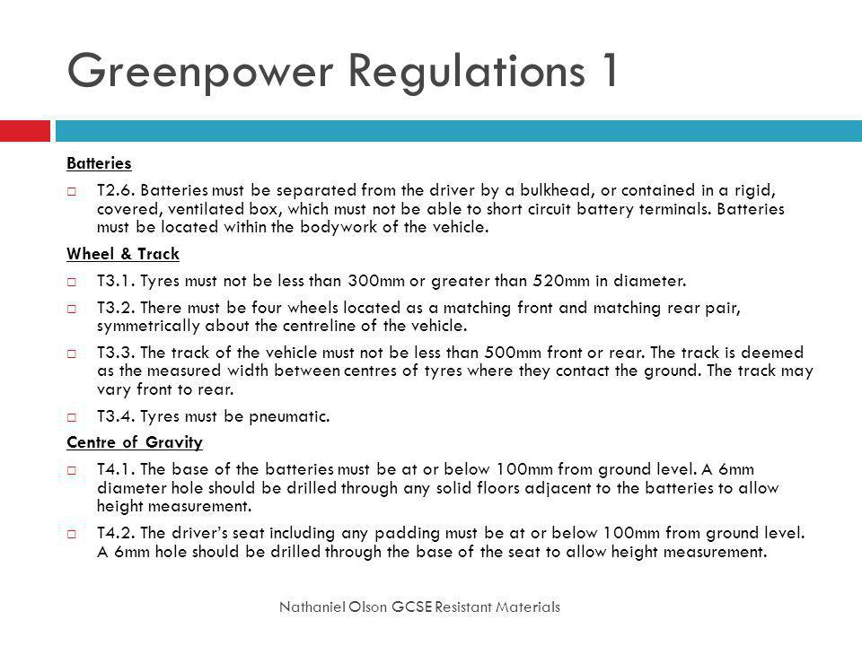 Greenpower Regulations 1
