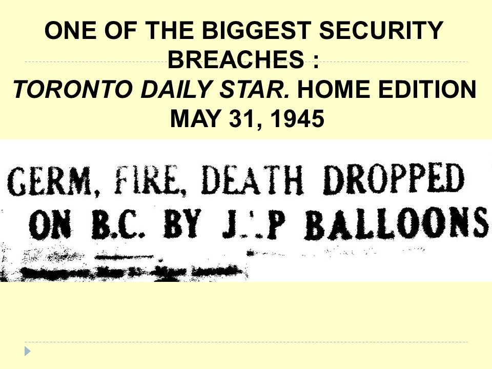ONE OF THE BIGGEST SECURITY BREACHES : TORONTO DAILY STAR