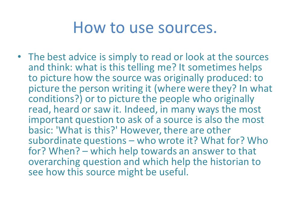 How to use sources.