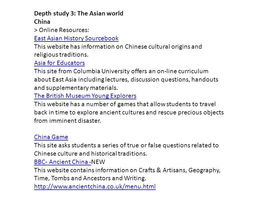 Depth study 3: The Asian world