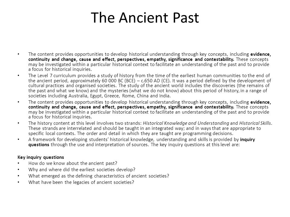 The Ancient Past